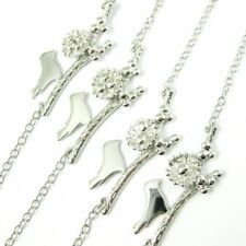 Rhodium Sterling Silver Bird Family Necklace, Mother Bird and Eggs on a Branch