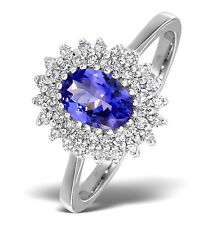 White Gold 7 x 5mm Tanzanite & 0.30ctw Diamond Ring  Sizes F - Z Made in London