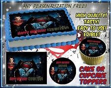 Batman Vs Superman Cake Toppers Edible image sugar SHEET topper Birthday icing