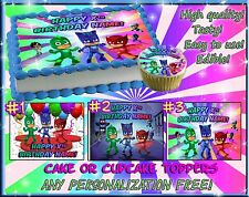 PJ Masks Birthday Cake topper Edible sugar cupcakes picture paper cupcakes easy
