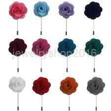 Handmade Rose Flower Boutonniere Stick Brooches Men Suit Lapel Pin Corsage
