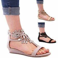 LADIES WOMENS FASHION STYLE SUMMER WEDGE SANDALS DIAMANTE CASUAL FORMAL SHOES