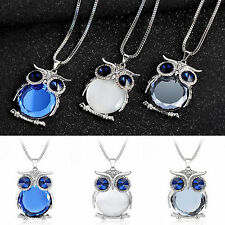 Owl Rhinestone Crystal Pendant Necklace Animal Long Sweater Chain Women Jewelry