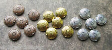 pk of 6 Large Tibetan Metal Focal Beads 17mm Flat Round Disc Silver Gold Copper