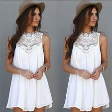 Women Summer Lace Casual Evening Ball Gown Party Beach Dress Blouse Skirt White