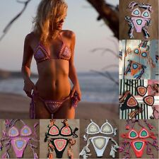 Handmade Sexy Women Weave Crocheted Bikini Brazilian Beach Swimwear Bathing Suit