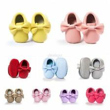 0-18M Baby Kids Bow Soft Sole Leather Shoes Infant Boy Girl Toddler Moccasin New