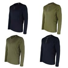 MENS ROUND & V-NECK WAFFLE TOP STRETCHY THERMAL T-SHIRT LONG SLEEVE JERSEY S-XL