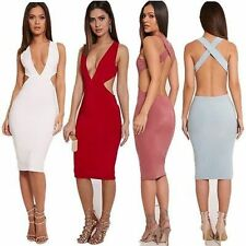 Sexy Plunge VNeck Bodycon Cutout Cross Backless Pencil Cocktail Party Club Dress