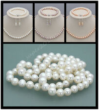 7-8mm Natural Freshwater Pearl Necklace Bracelet Earrings fashion  Jewelry Set