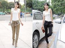 Fashion Women's Casual Bow-knot Button Skinny Long Trousers OL Slim Harem Pants