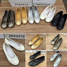 New Women Casual Bow Ballet Flats Dolly Shoes Loafers Casual Flat Heel Ballerina