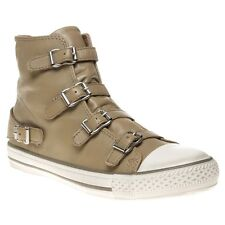 New Womens Ash Taupe Virgin Leather Boots Ankle Buckle Zip