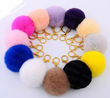 New Big 8cm Real Fur Fluffy Rex Rabbit Hair Pompom Ball Key Chain Clip 12colors
