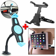 "Car Windshield Glass with Seat Headrest Mount Holder Cradle For 7 -10"" Tablet PC"