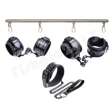 BDSM Bondage Wrist Ankle Cuffs Collar Set+Leg Spreader Bar Restraints Fetish Toy