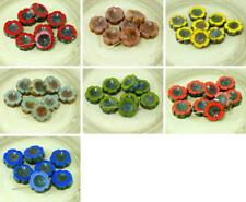 6pcs Rustic Picasso Czech Glass Flat Carved Table Cut Hawaiian Flower Beads Coin