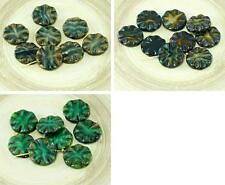 6pcs Rustic Picasso Striped Opal Czech Glass Window Flat Carved Table Cut Flower