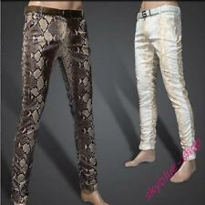 Mens Stylish Straight Slim Fit Snake Printed PU Leather  Casual Pants Trousers