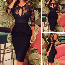 Womens Sexy Lace Evening Cocktail Formal Party Black Bodycon Pencil Midi Dress