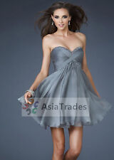 Stock Gray Short Chiffon Formal Party Prom Evening Ball Gown Bridesmaid Dresses