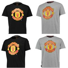 Manchester United FC Essential T-Shirt Grey Black Offical Merchandise All Sizes