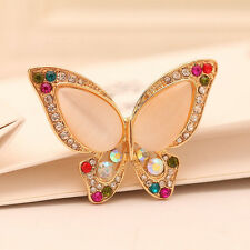Fashion Butterfly Jewelry Opal Rhinestone Brooch For Wedding Party Womens Gift
