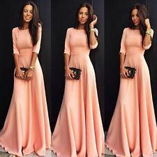 Long Sexy Bridesmaid Gown Prom Evening Formal Party Cocktail Clubwear Pink Dress