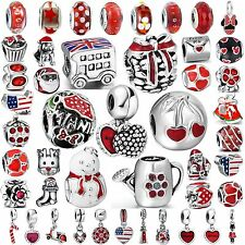 Hot Women Red Jewelry Bead Fine 925 Sterling Silver Charms Fit Bracelets Bangles