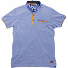 Brave Soul Locke Placket Polo Short Sleeve T-Shirt with Woven Detail