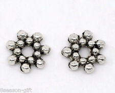 Gift Wholesale Silver Tone Flower Spacer Beads 6.5mm