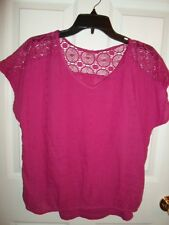 SONOMA WOMENS RED BERRY MAGENTA EYELET LACE COTTON CAMI TANK TOP BLOUSE S