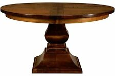 Amish Charleston Round Plank Top Bread Board Pedestal Dining Table Solid Wood