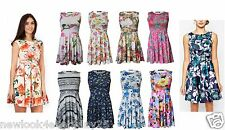 New Womens Ladies Floral Swing Dress Ladies Sleeveless Flare Skater Dress UK8-26