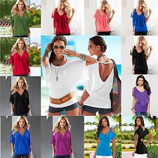 Womens Summer Batwing Short Sleeve T-Shirt Tops Fashion Casual Baggy Blouse