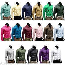 Mens Solid Luxury Formal Casual Business Long Sleeve Slim Fit Stylish Shirts NEW