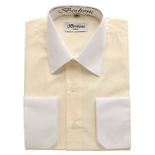 Berlioni Italy Mens Italian French Convertible Cuff Two Tone Dress Shirt Off Whi