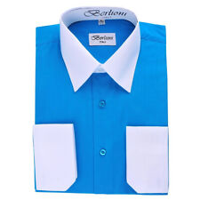 Berlioni Italy Mens Italian French Convertible Cuff Two Tone Dress Shirt Turquoi