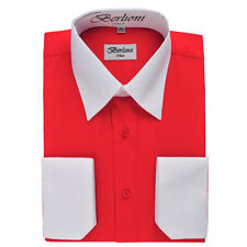 Berlioni Italy Men's Italian French Convertible Cuff Two Tone Dress Shirt Red