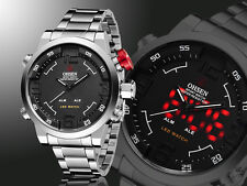 OHSEN Luxury Mens Business Steel Band Analog Date LED Sport Waterproof Watch New