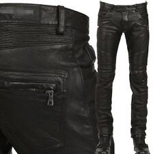 Hot Punk Mens  Rock Motorcycle Slim Fit Pants PU Leather Trousers Size Black#678