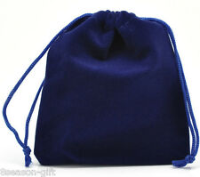 Gift Wholesale Dark Blue Velveteen Pouch Jewelry Bags With Drawstring 12x10cm