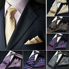 Men Silk Satin Pocket Square Hankie Handkerchief Necktie Set Free Shipping