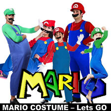 Party Super Mario Brothers Luigi Mens Women Child Fancy Dress Costume Holloween