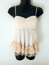 Strap White Floral Lace/Embroidery Front Lined Cami Top