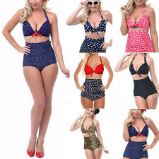 Lady High Waisted Vintage Push Up Bandeau Bikini Set Sexy Swimsuit Swimwear Top