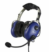 SkyLite Aviation Pilot Radio-in MP3 Headset for GA wt Dual Plug , GEL ~Blue