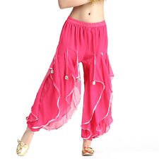 New Belly Dance Chiffon Silver Trim Rotation Pants Dancing Tribal Harem Costume