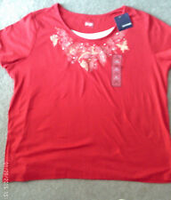 Ladies 2X Red Beaded Top- 2 Shirt Look NWT