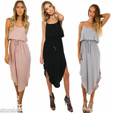 Summer Womens Long Maxi Beach Dress U-neck Irregular Flounce Hem Braces Dress